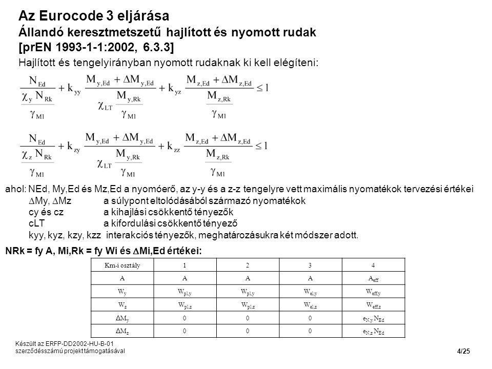 Az Eurocode 3 eljárása Állandó keresztmetszetű hajlított és nyomott rudak. [prEN 1993-1-1:2002, 6.3.3]